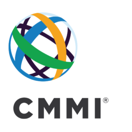 A green, yellow and blue globe above black text CMMI